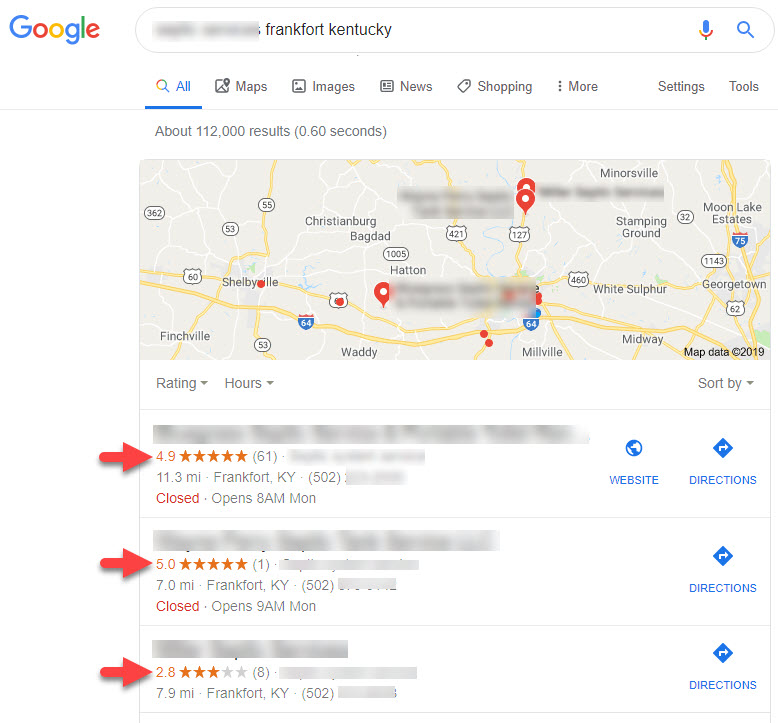 the importance of reviews to a small business can't be overstated. Five Oaks Communications, Website Design, SEO, Review Marketing, Frankfort Kentucky